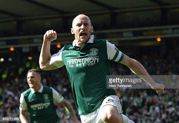 David Gray of Hibernian celebrates scoring the winning goal as Hibernian beat Rangers 32 during the William Hill Scottish Cup Final between Rangers...
