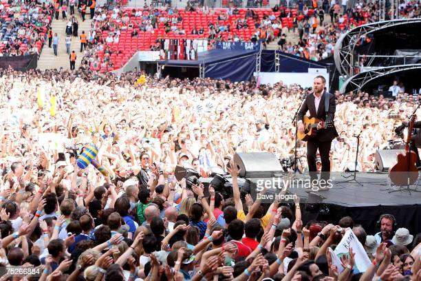 David Gray performs on stage during the Live Earth concert at Wembley Stadium on July 7 2007 in London England Live Earth is a 24hour 7continent...