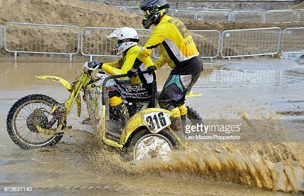 David Gray sidecar competitor in the Hydrogarden Western Beach Race on October 8 2016 in WestonSuperMare England