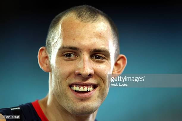 David Greene of Great Britain smiles after claiming gold in the men's 400 metres hurdles final during day six of the 13th IAAF World Athletics...
