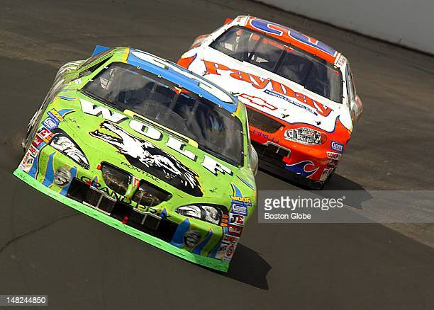 David Green's No. 37 Timber Wolf Pontiac leads the pack during the latter part of the Nascar Busch Series New England 200 Saturday, July 19, 2003 at...