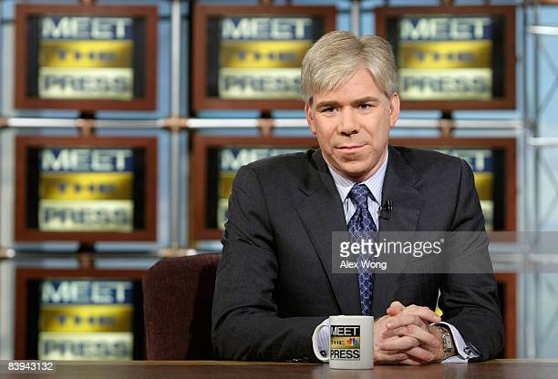 David Gregory listens during a taping of 'Meet the Press' at the NBC studios December 7 2008 in Washington DC NBC announced that David Gregory has...