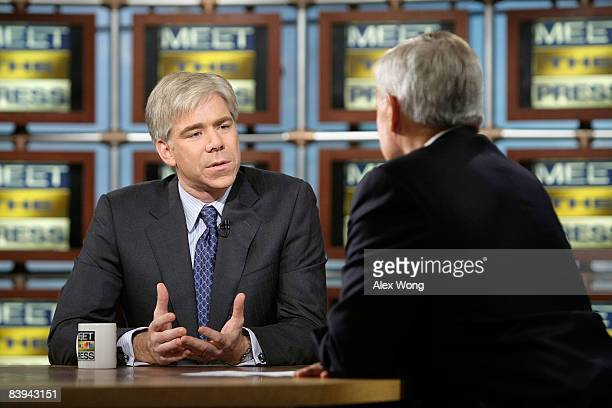 David Gregory speaks as he is interviewed by interim moderator Tom Brokaw during a taping of 'Meet the Press' at the NBC studios December 7 2008 in...