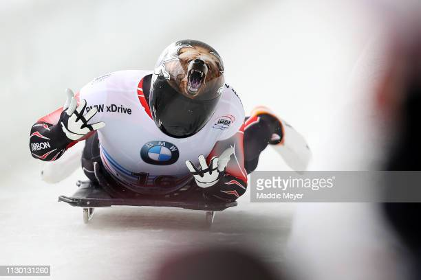 David Greszczyszyn of Canada reacts after his second run of the Men's Skeleton on day 2 of the 2019 IBSF World Cup Bobsled & Skeleton at the Mount...