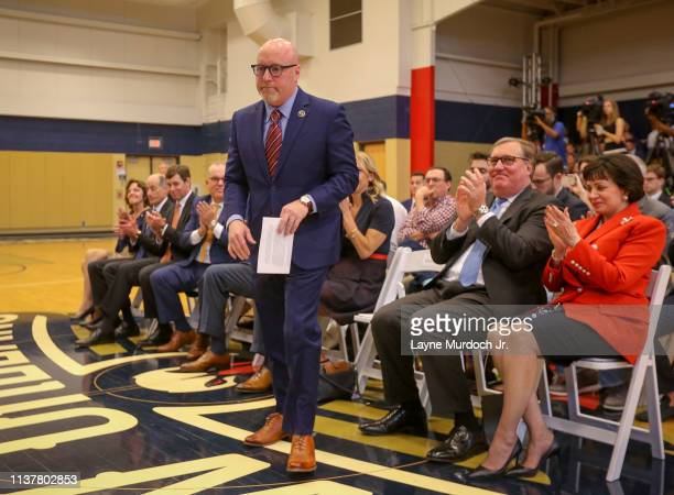 David Griffin Executive Vice President of Basketball Operations for the New Orleans Pelicans walks to the podium during an introductory press...