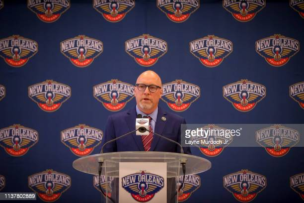 David Griffin Executive Vice President of Basketball Operations for the New Orleans Pelicans talks to the media during an introductory press...