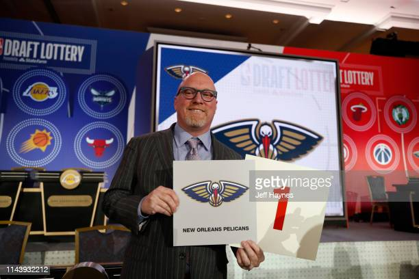 David Griffin of the New Orleans Pelicans holds the card for the number one overall pick at the 2019 NBA Draft Lottery on May 14 2019 at the Chicago...