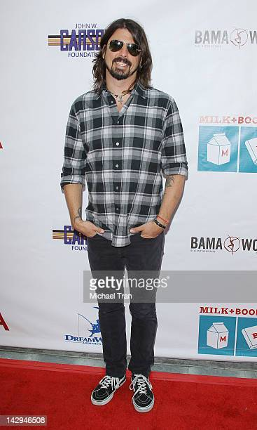 David Grohl arrives at the Milk + Bookies 3rd Annual Story Time Celebration held at Skirball Cultural Center on April 15, 2012 in Los Angeles,...