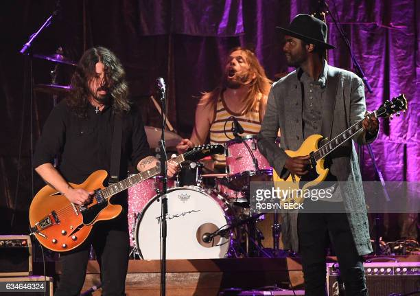David Grohl from the Foo Fighters and Gary Clark Jr perform during the 2017 MusiCares Person of the Year honouring Tom Petty in Los Angeles...