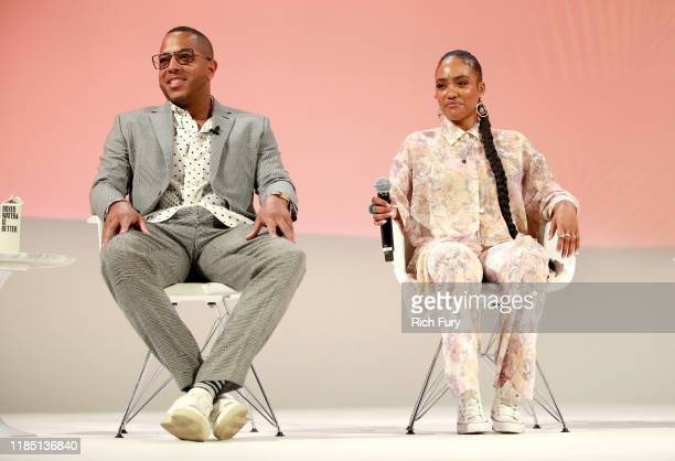 David Gross and Samantha Smith speak on stage at the Teen Vogue Summit 2019 at Goya Studios on November 02 2019 in Los Angeles California