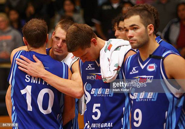 David Gruber is embraced by his captain Jason Smith of the Spirit after the round 22 NBL match between the Sydney Spirit and the New Zealand Breakers...