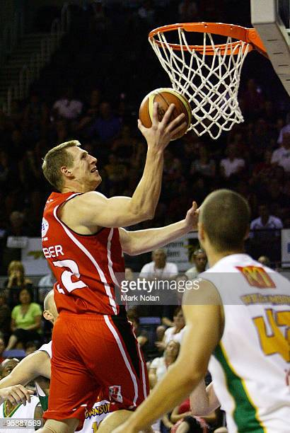 David Gruber of the Hawks drives to the basket during the round 17 NBL match between the Wollongong Hawks and the Townsville Crocodiles at Wollongong...