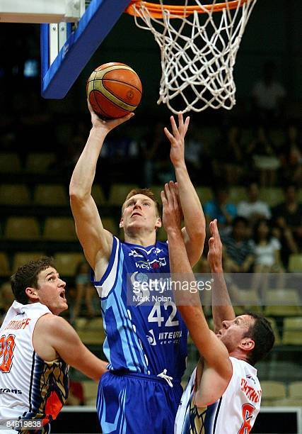David Gruber of the Spirit shoots during the round 21 NBL match between the Sydney Spirit and the Cairns Taipans held at Sydney Olympic Park Sports...