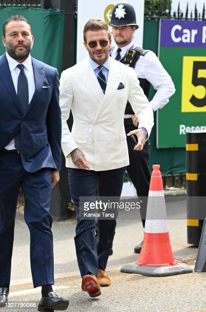 David Grutman and David Beckham attend day 11 of the Wimbledon Tennis Championships at the All England Lawn Tennis and Croquet Club on July 09, 2021...