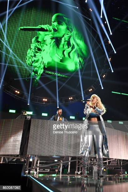 David Guetta and Bebe Rexha perform onstage during the 2017 iHeartRadio Music Festival at TMobile Arena on September 22 2017 in Las Vegas Nevada