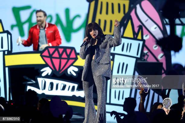 David Guetta and Charli XCX perform on stage during the MTV EMAs 2017 held at The SSE Arena Wembley on November 12 2017 in London England