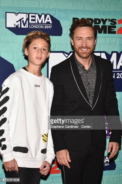 David Guetta and his son Tim Elvis attend the MTV EMAs 2017 at The SSE Arena Wembley on November 12 2017 in London England