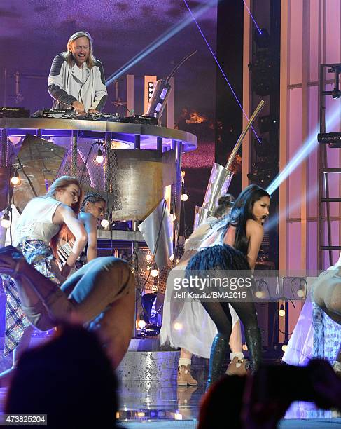 David Guetta and recording artist Nicki Minaj perform onstage during the 2015 Billboard Music Awards at MGM Grand Garden Arena on May 17 2015 in Las...