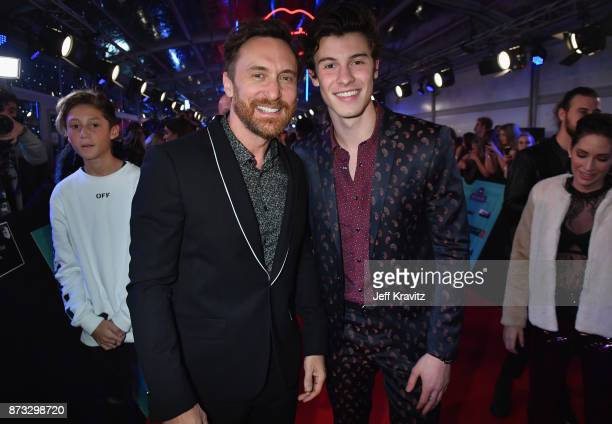 David Guetta and Shawn Mendez attend the MTV EMAs 2017 held at The SSE Arena Wembley on November 12 2017 in London England