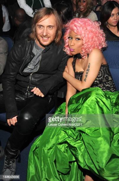 David Guetta and singer Nicki Minaj at the 2011 American Music Awards held at Nokia Theatre L.A. LIVE on November 20, 2011 in Los Angeles, California.