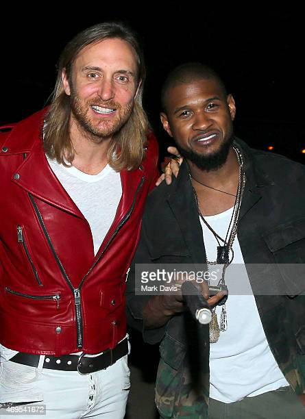 David Guetta and singer Usher attend day 3 of the 2015 Coachella Valley Music Arts Festival at the Empire Polo Club on April 12 2015 in Indio...