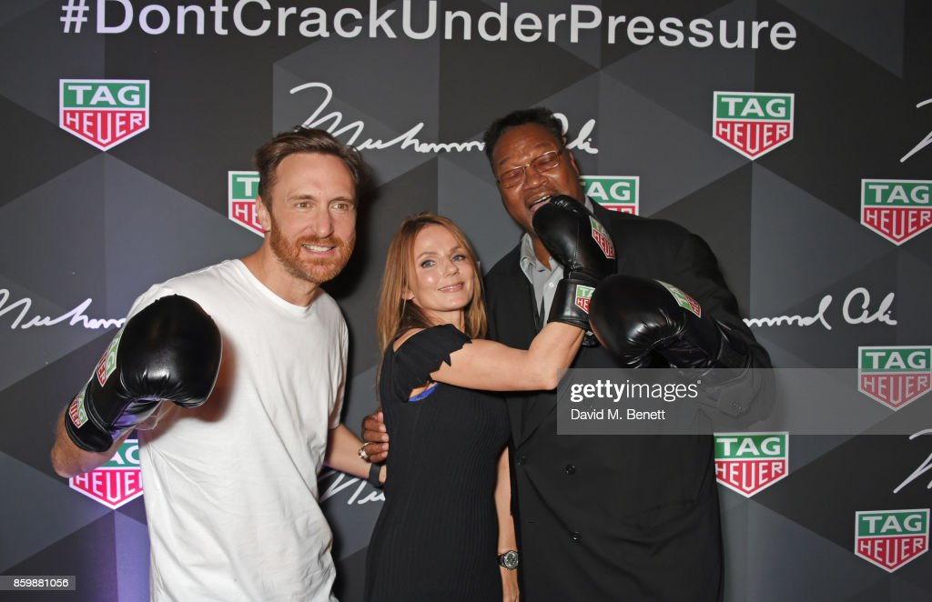 David Guetta, Geri Horner and Larry Holmes attend the launch of the TAG Heuer Muhammad Ali Limited Edition Timepieces at BXR Gym on October 10, 2017 in London, England.