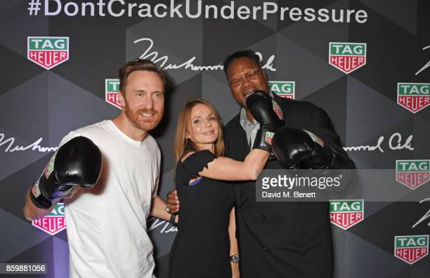 David Guetta Geri Horner and Larry Holmes attend the launch of the TAG Heuer Muhammad Ali Limited Edition Timepieces at BXR Gym on October 10 2017 in...
