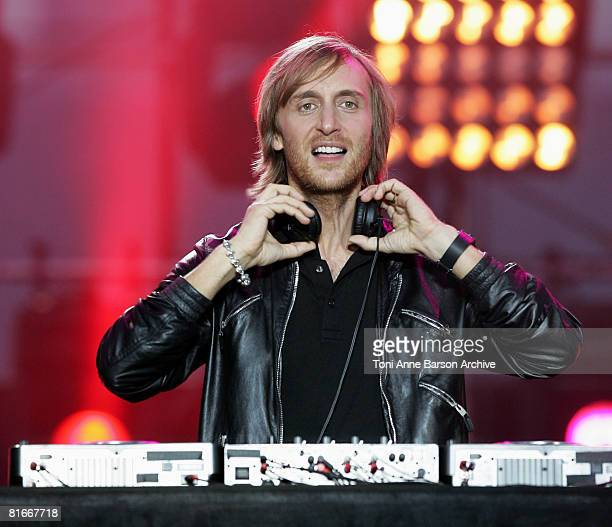 David Guetta performs at the France 2 Television's 'Fete de la Musique' at the Auteuil Horse track on June 21 2008 in Paris France
