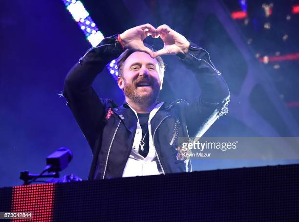 David Guetta performs during the World Stage event as part of the MTV EMAs 2017 at Trafalgar Square on November 11 2017 in London England