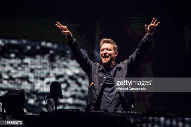 David Guetta performs live on stage during an Avicii tribute concert to raise awareness for mental health at Friends Area on December 5 2019 in...