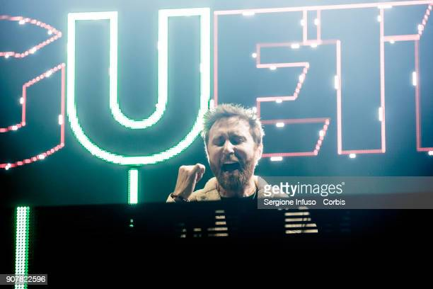 David Guetta performs on stage at Mediolanum Forum of Assago on January 20 2018 in Milan Italy