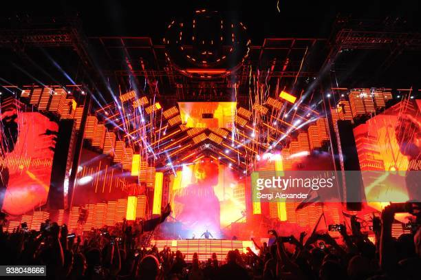David Guetta performs on stage at Ultra Music Festival at Bayfront Park on March 25 2018 in Miami Florida