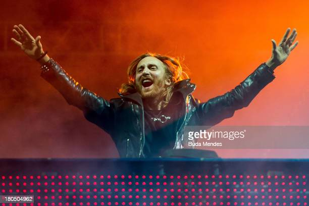 David Guetta performs on stage during a concert in the Rock in Rio Festival on September 13 2013 in Rio de Janeiro Brazil