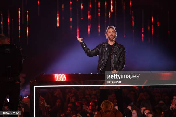 David Guetta performs on stage during the MTV EMAs 2018 at Bilbao Exhibition Centre on November 4 2018 in Bilbao Spain
