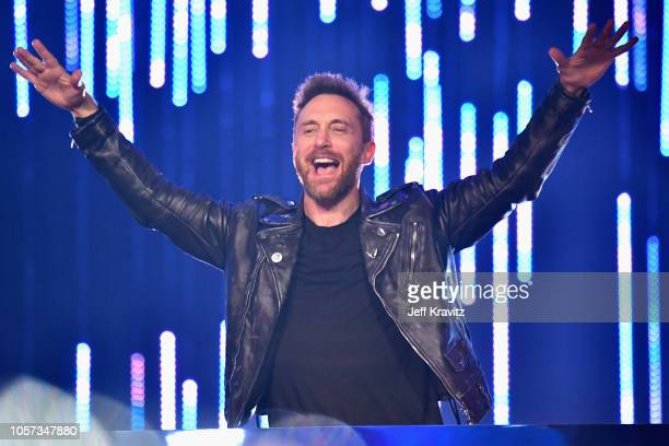 David Guetta performs on stage during the MTV EMAs 2018 on November 4 2018 in Bilbao Spain