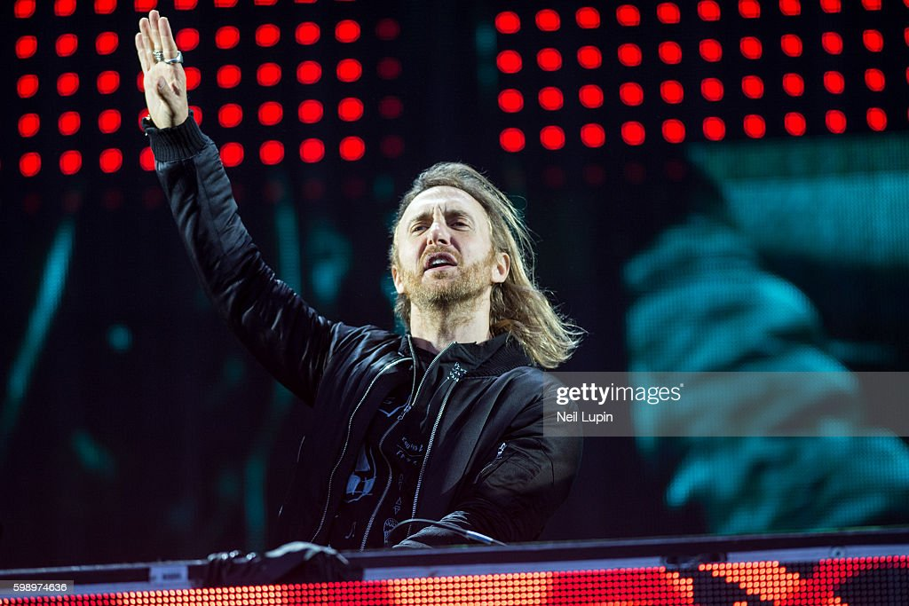 David Guetta performs on the Virgin Media Stage at the V