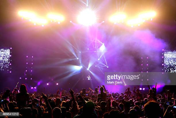 David Guetta performs onstage during day 3 of the 2015 Coachella Valley Music & Arts Festival at the Empire Polo Club on April 12, 2015 in Indio,...