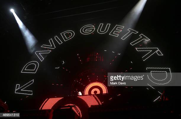 David Guetta performs onstage during day 3 of the 2015 Coachella Valley Music Arts Festival at the Empire Polo Club on April 12 2015 in Indio...