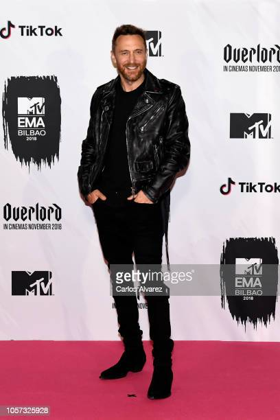 David Guetta poses in the Winners room during the MTV EMAs 2018 at Bilbao Exhibition Centre on November 4 2018 in Bilbao Spain