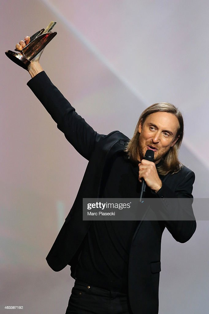 David Guetta receives a special prize to celebrate the 30 years of the 'Victoires de la Musique' in Electronic Music category during the 30th 'Victoires de la Musique' French Music Awards Ceremony at le Zenith on February 13, 2015 in Paris, France.