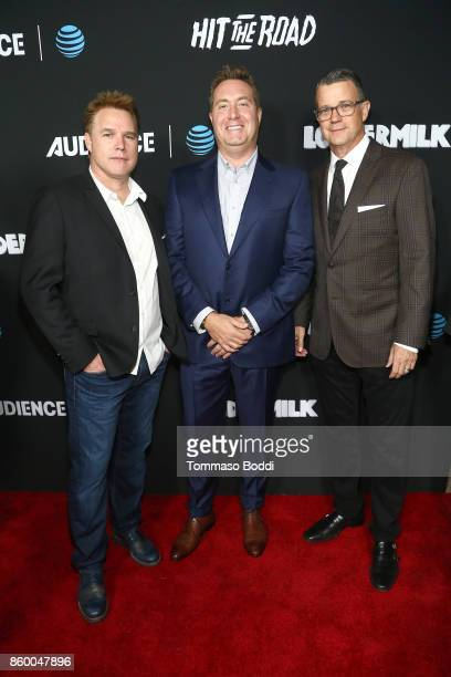 David Guillod Bart Peters and Mark Burg attend the ATT AUDIENCE Network Premieres Loudermilk And Hit The Road on October 10 2017 in Los Angeles...