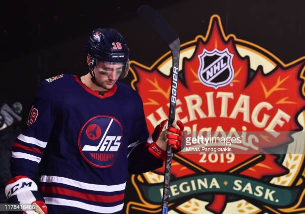 David Gustafsson of the Winnipeg Jets walks to the ice to start the third period against the Calgary Flames during the 2019 Tim Hortons NHL Heritage...