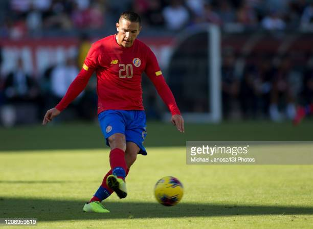 David Guzman of Costa Rica passes off a ball during a game between Costa Rica and USMNT at Dignity Health Sports Park on February 1 2020 in Carson...