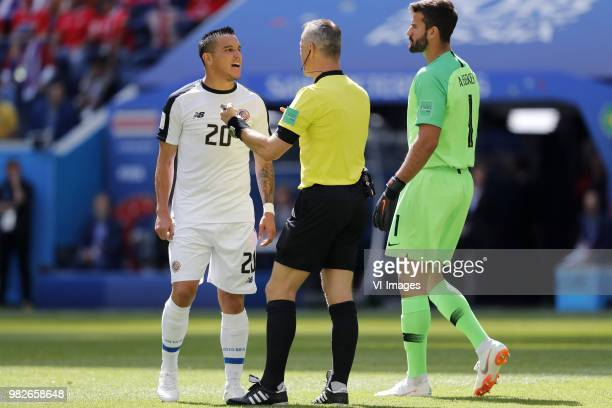 David Guzman of Costa Rica referee Bjorn Kuipers goalkeeper Alisson of Brazil during the 2018 FIFA World Cup Russia group E match between Brazil and...