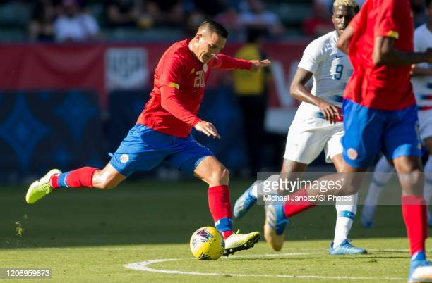 David Guzman of Costa Rica takes a shot during a game between Costa Rica and USMNT at Dignity Health Sports Park on February 1 2020 in Carson...