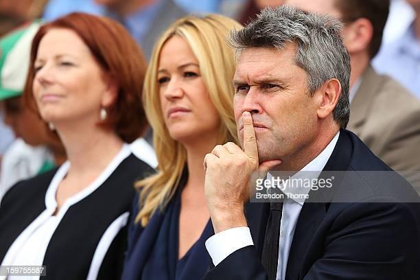 David Gyngel Leila Mckinnon and Australian Prime Minister Julia Gillard attend the Tony Greig memorial service at Sydney Cricket Ground on January 20...