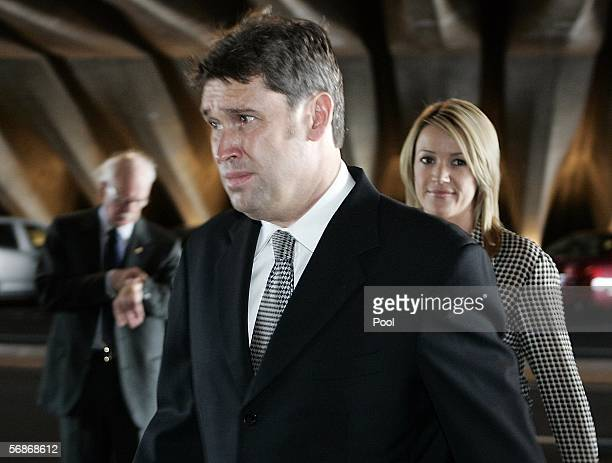 David Gyngell former Channel Nine CEO and god son of Australian businessman Kerry Packer and Leila McKinnon arrive at Packer's state memorial at the...