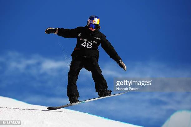 David Habluetzel of Switzerland comeptes during the Winter Games NZ FIS Men's Snowboard World Cup Halfpipe Finals at Cardrona Alpine Resort on...