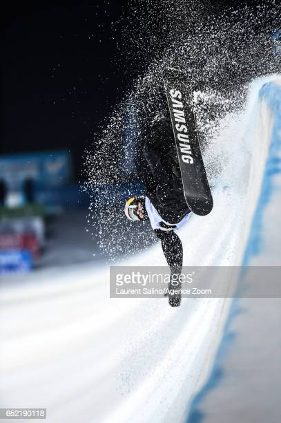 David Habluetzel of Switzerland crashes out during the FIS Freestyle Ski & Snowboard World Championships Halfpipe on March 11, 2017 in Sierra Nevada,...