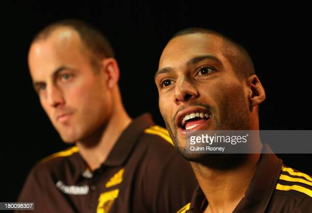 David Hale and Josh Gibson of the Hawks speaks to the media during a Hawthorn Hawks AFL media session at Waverley Park on September 9 2013 in...